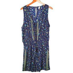 Raga Sleeveless Blue Sapphire Romper Floral XL